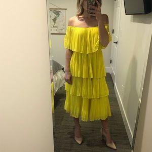 Tiered Pleated Yellow Midi Dress